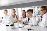education, science and school concept - kids or students with plant at biology class - 209341522