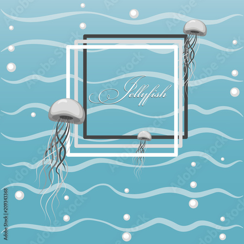 Fototapeta Poster with floating jellyfish. Jellyfish and air bubbles against the background of sea waves. Flat style. Design for postcards, ads, packaging materials.