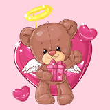 Teddy bear. Children character. Gift card. Happy birthday or valentine's day greeting card. - 209346971