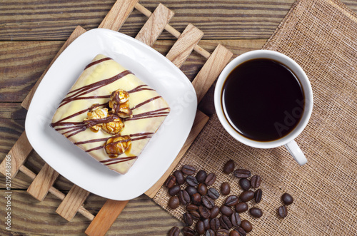Wall mural Coffee and glazed square donut