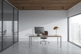 Panoramic manager office interior, cityscape - 209350906
