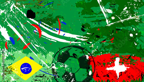 Aluminium Abstract met Penseelstreken abstact background, with soccer/football, brazil vs. switzerland, grungy style