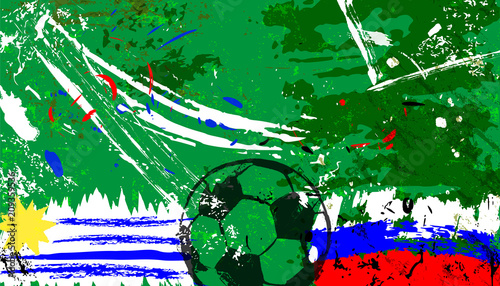 Aluminium Abstract met Penseelstreken abstact background, with soccer/football, russia Vs. uruguay grungy style