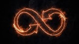 The symbol of infinity glows in the fire. Infinity 37 - 209359746