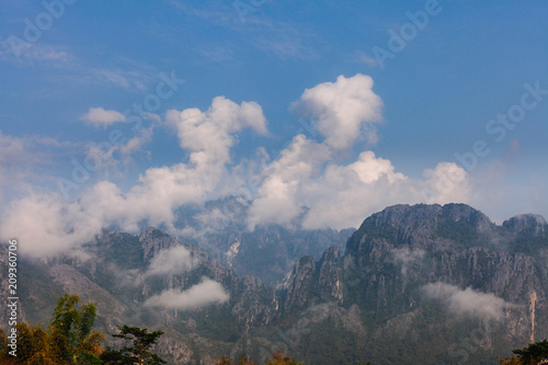 Big Mountain with Cloud and Fog nature background. - 209360706