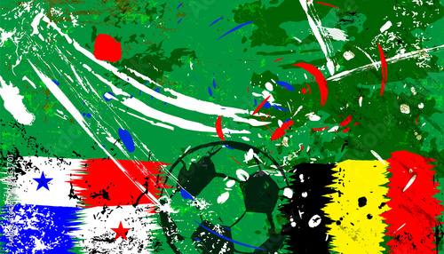 Aluminium Abstract met Penseelstreken abstact soccer / football illustration, panama vs. belgium,grungy style