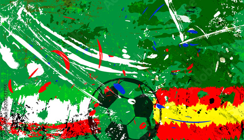 Aluminium Abstract met Penseelstreken abstact soccer / football illustration, spain vs. iran,grungy style