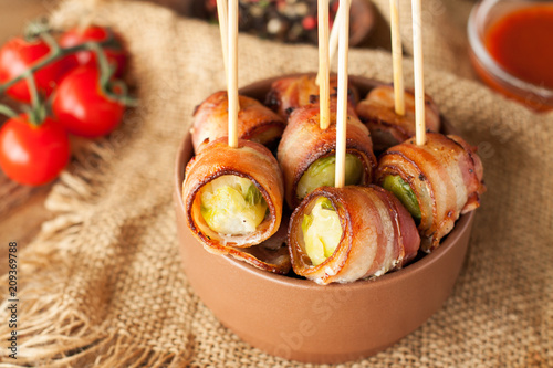 Fototapeta Bacon wrapped brussels sprouts