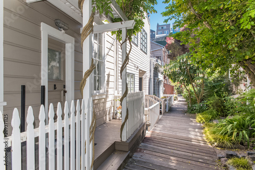 San Francisco, charming wooden house in Telegraph Hill, on a pathway