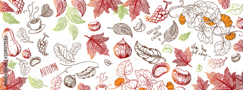 Fotobehang Graffiti Autumn doodles background