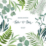 Greenery floral card. Frame border background. Summer vector illustration.  Watercolor style - 209373597