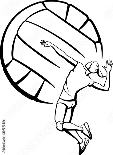 Female Volleyball Spiking with Ball