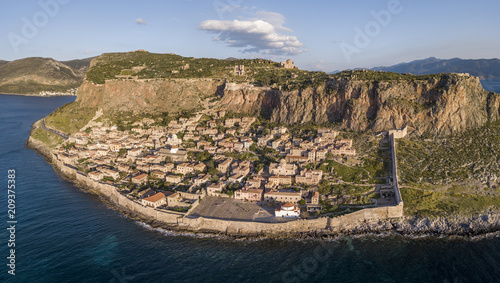 Fototapeta Aerial view of the ancient hillside town of Monemvasia located in the southeastern part of the Peloponnese peninsula