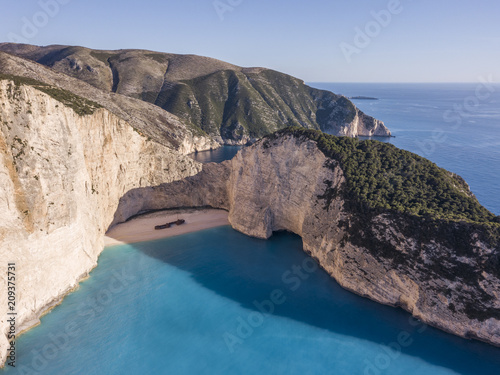 Foto Murales Aerial view of Navagio or Shipwreck Beach on the coast of Zakynthos, Greece