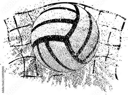 Sand Volleyball Grunge Ball and Net