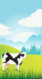 Illustration of a summer rural landscape  and cow