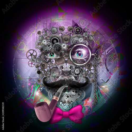 Canvas Reznik Красочная художественная или декоративная роспись с мужским лицом из зубчатых колес, стимпанк