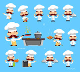 variouscute Pose of cook and Chef Flat Vector Illustration Design - 209388353