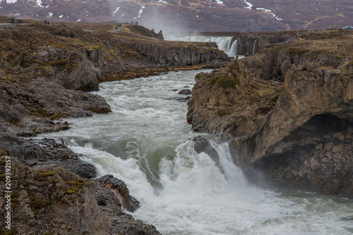 Foto Murales the Godafoss waterfall in Iceland