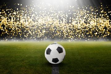 Fußball abends im Stadion vor Lichtern