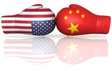 usa china us punitive tariff duty trade war crisis armament nuclear weapons arms upgrade buildup conflict 3d boxing gloves flags illustration isolated on white