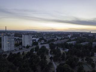 Panoramic aerial view of City Tallinn Estonia , District mustamjae
