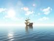 3D ship sailing on a blue ocean