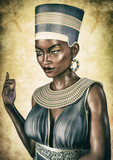 Portrait of an Egyptian Queen with an evil face. - 209396941