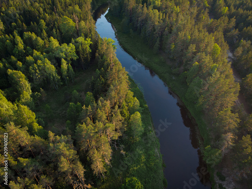 Foto Murales top view to bending river in green forest  on sunse
