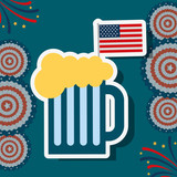 food american independence day many colorful pennants usa flag background beer vector illustration - 209403931