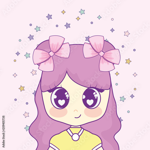 kawaii girl with garlands splash vector illustration design - 209405738