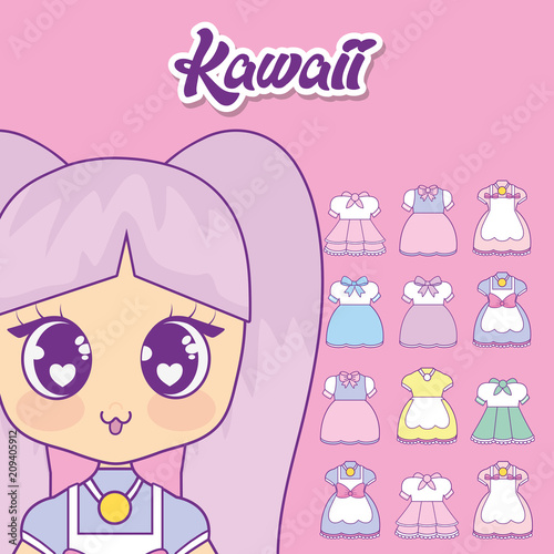 kawaii girl with set clothes vector illustration design - 209405912