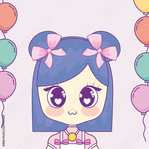 kawaii girl with balloons helium frame vector illustration design - 209405939