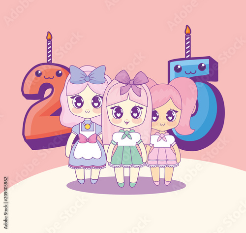 group of cute kawaii girls with numbers candles vector illustration design - 209405962