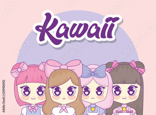 group of cute kawaii girls characters vector illustration design - 209406142