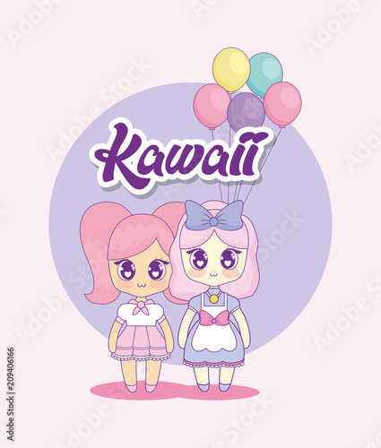 group of cute kawaii girls characters vector illustration design - 209406166