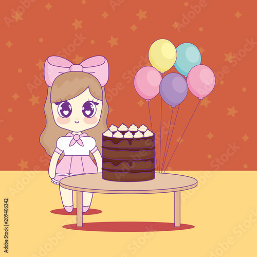cute kawaii girl with cake birthday card vector illustration design - 209406342