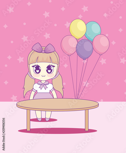 cute kawaii girl with balloons helium character vector illustration design - 209406356