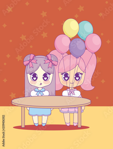 cute kawaii girls with balloons helium character vector illustration design - 209406382