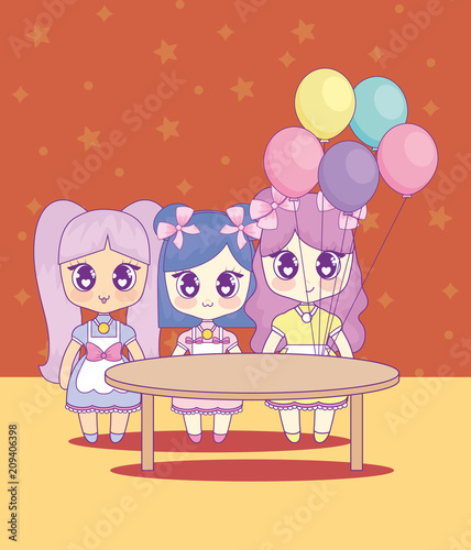group of cute kawaii girls characters vector illustration design - 209406398