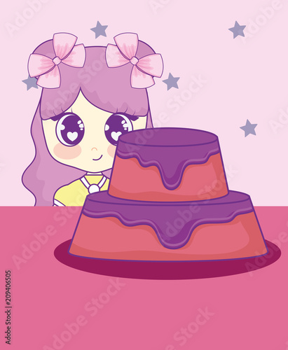 cute kawaii girl with cake birthday card vector illustration design - 209406505