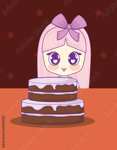 cute kawaii girl with cake birthday card vector illustration design - 209406520