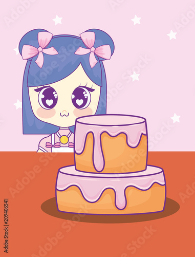 cute kawaii girl with cake birthday card vector illustration design - 209406541