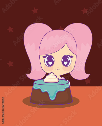 cute kawaii girl with cake birthday card vector illustration design - 209406552