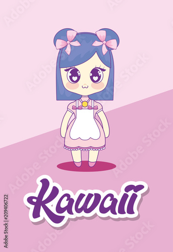 cute kawaii girl character vector illustration design - 209406722