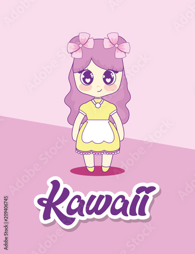 cute kawaii girl character vector illustration design - 209406745