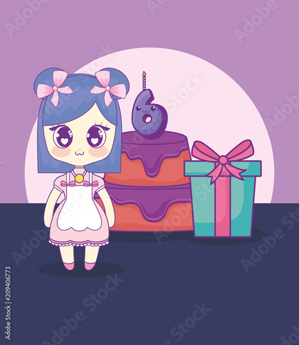 cute kawaii girl with cake birthday card vector illustration design - 209406773