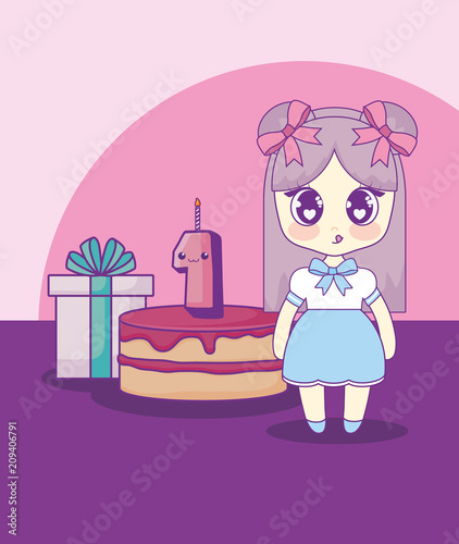 cute kawaii girl with cake birthday card vector illustration design - 209406791