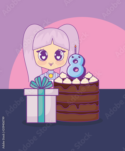cute kawaii girl with cake birthday card vector illustration design - 209406799