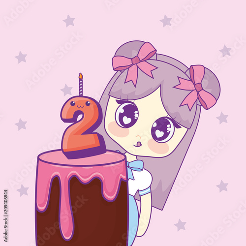 cute kawaii girl with cake birthday card vector illustration design - 209406944